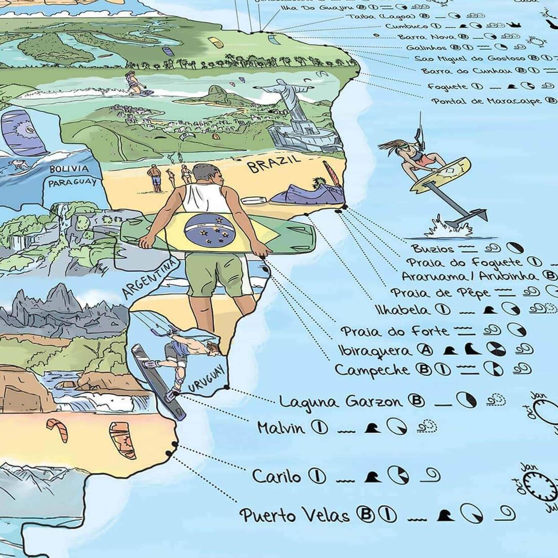 Carte Du Monde Kitesurf.Carte Du Monde Des Spots De Kitesurf